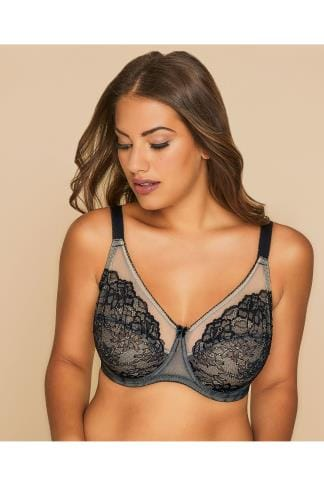 Wired Bras Black And Nude Glamour Lace and Mesh Underwired Bra 014164