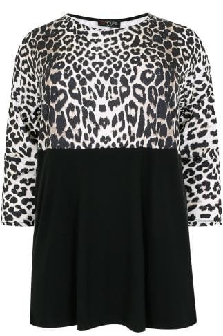 Black & Animal Print Colour Block Jersey Top With 3/4 Sleeves