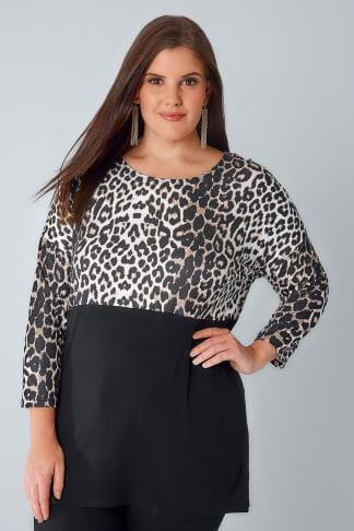 Jersey Tops Black & Animal Print Colour Block Jersey Top With 3/4 Sleeves 156201