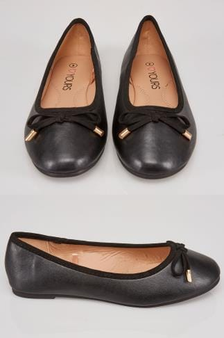 Black COMFORT INSOLE Ballerina Pump With Bow Detail In True EEE Fit