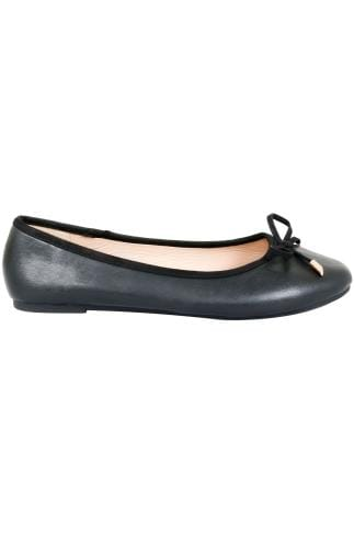 Wide Fit Flat Shoes Black Ballerina Pump With Bow Detail In E Fit 154007