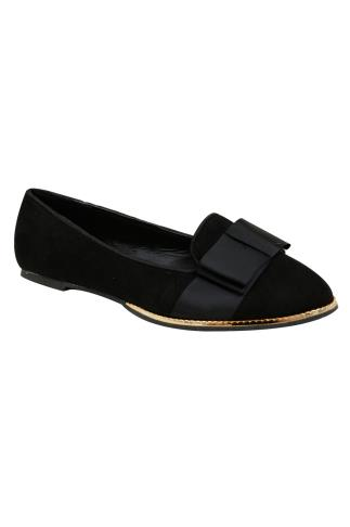 Black COMFORT INSOLE Ballerina Pumps With Gold Trim In E Fit