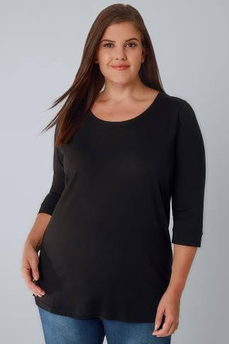 Tops journee Black Band Scoop Neckline T-Shirt With 3/4 Sleeves 132301