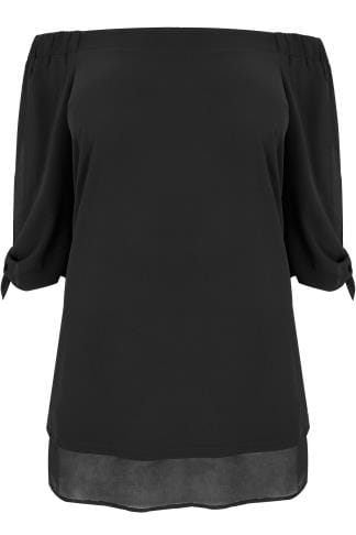 Black Bardot Layered Hem Swing Top With Open Tie Detail Sleeve