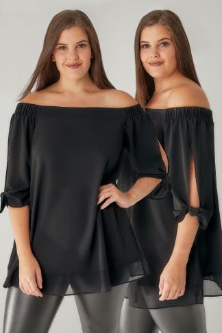 Bardot & Cold Shoulder Tops Black Bardot Layered Hem Swing Top With Open Tie Detail Sleeve 130169