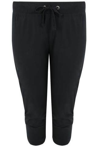 Black Basic Cotton Jersey Cropped Joggers With Fold Detail 126009