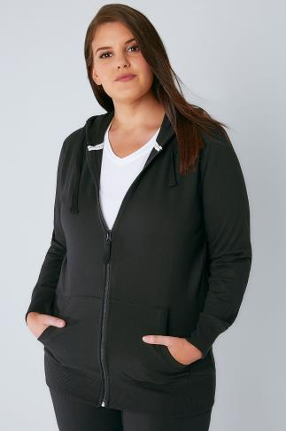 Black Basic Zip Through Jersey Hoodie With Pockets 126007