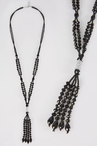 Black Beaded Long Necklace With Diamante & Tassel Detail