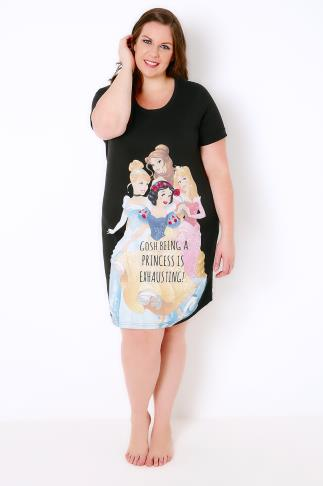 "Black ""Being A Princess Is Exhausting"" Disney Nightdress 102275"