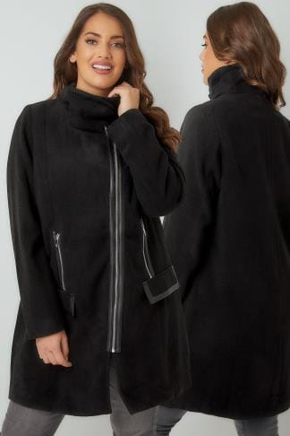 Coats Black Biker Style Coat With PU Trim 120073