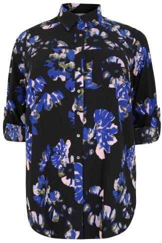 YOURS LONDON Black & Blue Floral Print Crepe Shirt With Chest Pockets