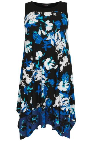 Black & Blue Floral Sleeveless Midi Dress With Hanky Hem