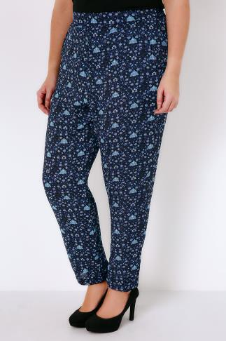 Black & Blue Floral Vine Print Crepe Relaxed Fit Harem Trousers