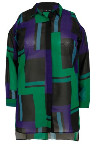Black, Blue & Green Abstract Print Shirt With Cold Shoulder & Dipped Hem