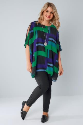 Woven Tops Black, Blue & Green Cold Shoulder Cape Top 130008