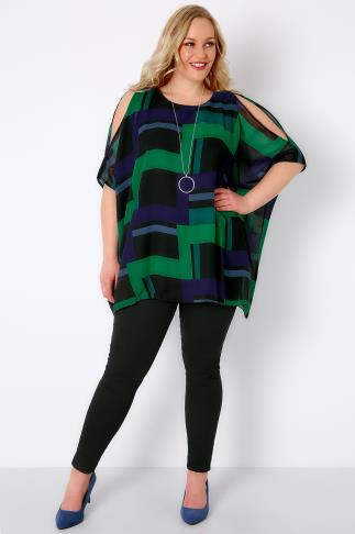 Black, Blue & Green Cold Shoulder Cape Top 130008