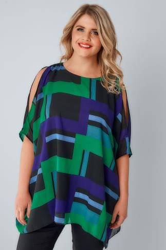 Blouses & Shirts Black, Blue & Green Cold Shoulder Cape Top 130008