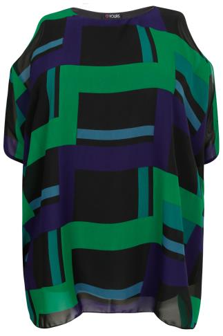 Black, Blue & Green Cold Shoulder Cape Top