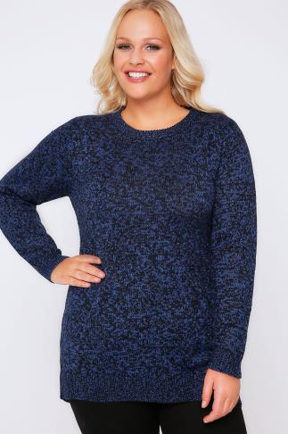Jumpers Black & Blue Longline Twist Knit Jumper 101642