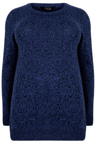 Black & Blue Longline Twist Knit Jumper