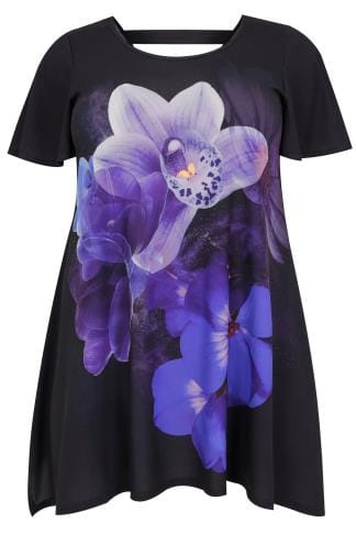 Smart Jersey Tops Black & Blue Orchid Print Slinky Jersey Top With Hanky Hem 134256