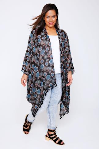 Black, Blue & Peach Mandala Print Lightweight Woven Wrap