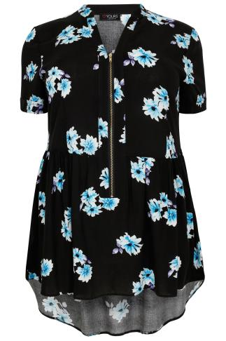 Black, Blue & Purple Floral Print Longline Top With Ruched Waist & Zip Front