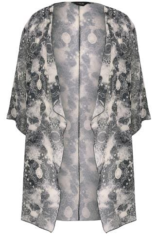 Black & Blush Circle Tile Print Chiffon Kimono With Waterfall Front