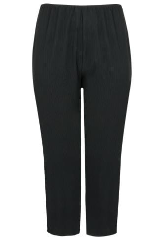 Black Bootleg Stretch Ribbed Trousers