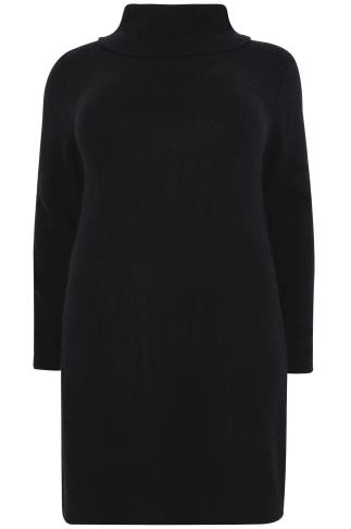 Black Boucle Longline Jumper With Side Slits & Cowl Neck