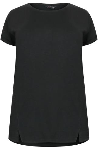 Black Boyfriend T-Shirt With Front Split Detail