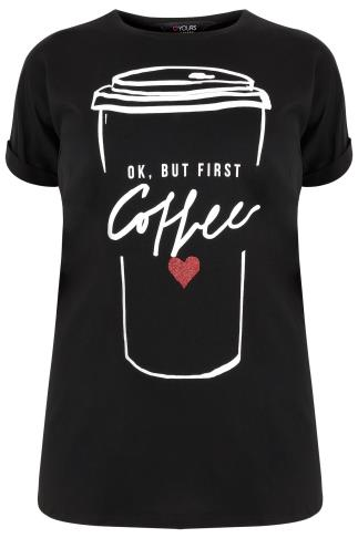 "Black ""But First Coffee"" Printed Top With Turn Back Sleeves"