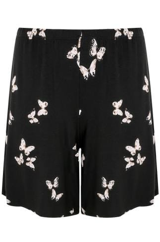 Black Butterfly Print Jersey Pull On Shorts
