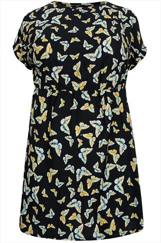 Black & Yellow Butterfly Print Tunic Skater Dress