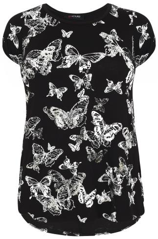 Black Butterfly Print T-Shirt With Foil Detail & Dipped Hem