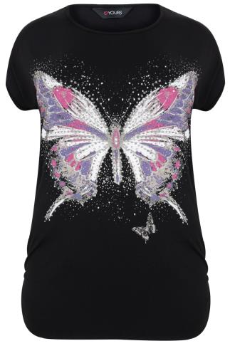 Black Butterfly & Stud Print Top With Ruched Sides