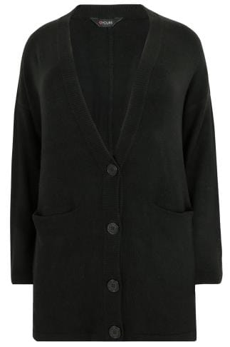 Black Button Up Cardigan With Two Pockets