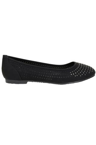 Black COMFORT INSOLE Ballerina Pumps With Diamante Detail In EEE Fit 102301