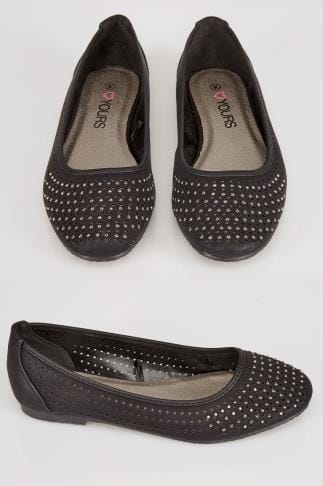 Wide Fit Flat Shoes Black COMFORT INSOLE Ballerina Pumps With Diamante Detail In EEE Fit 102301