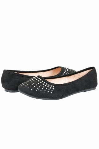 Wide Fit Flat Shoes Black COMFORT INSOLE Ballerina Pumps With Diamante Detail In TRUE EEE Fit 154008