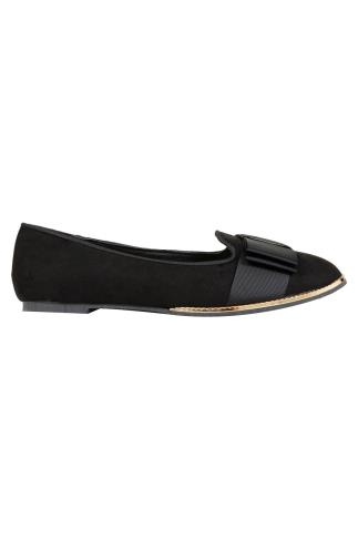 Wide Fit Flat Shoes Black COMFORT INSOLE Ballerina Pumps With Gold Trim In E Fit 101700