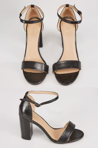 Black COMFORT INSOLE Block Heel Mary Sandal In E Fit