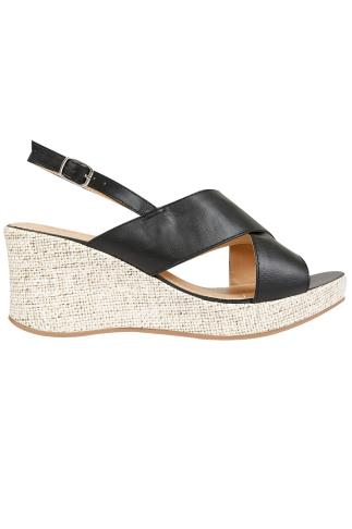 Wide Fit Wedges Black COMFORT INSOLE Cross Over Wedge Sandal In EEE Fit 056426