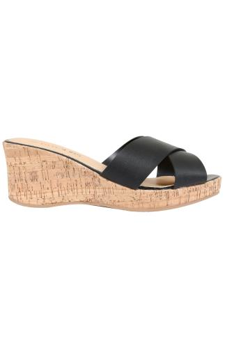 Black COMFORT INSOLE Crossover Cork Wedge Mule In EEE Fit