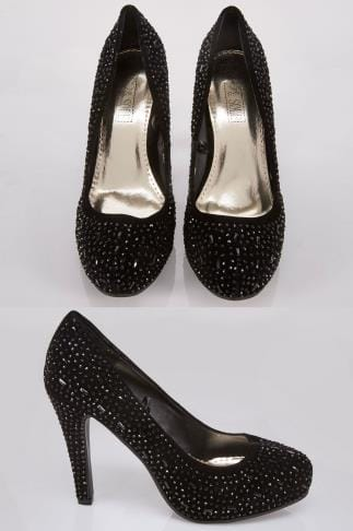 Wide Fit Heels Black COMFORT INSOLE Embellished Platform Heeled Party Shoe In E Fit 102458