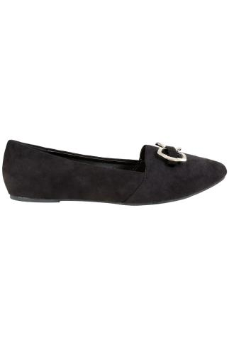 Wide Fit Flat Shoes Black COMFORT INSOLE Faux Suede Ballerina Pump With Metal Bow In E Fit 101690