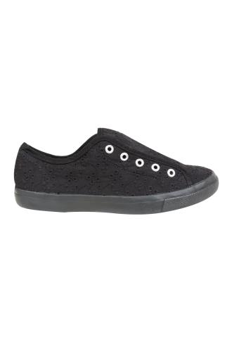 Black COMFORT INSOLE Floral Slip On Canvas Laceless Plimsolls In EEE Fit