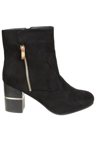 Black COMFORT INSOLE Heeled Ankle Boot With Gold Trim In E Fit 101398