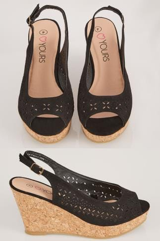 Wide Fit Wedges Black COMFORT INSOLE Laser Cut Slingback Wedge Sandal In EEE Fit 154021