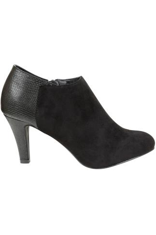 Black COMFORT INSOLE Micro Print Heeled Shoe Boot In EEE Fit